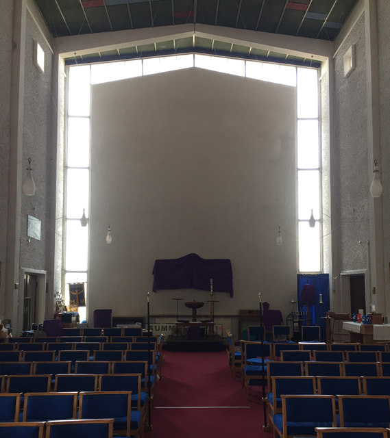 St Oswald's Church, Jardine Crescent, Tile Hill, west Coventry – west end of the nave