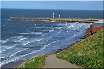 NZ8911 : Whitby harbour entrance from the West Cliff by David Martin