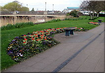 ST3037 : Flowerbeds and benches, East Quay, Bridgwater by Jaggery