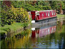 SK0120 : Moored narrowboat near Colwich in Staffordshire by Roger  Kidd