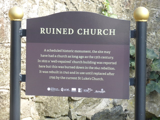 Sign for ruined church, Loughgall, Co Armagh, Northern Ireland