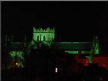 H8745 : St Patrick's Church of Ireland Anglican cathedral, Armagh, Northern Ireland lit up in green for a St Patrick's Day concert by P Webb