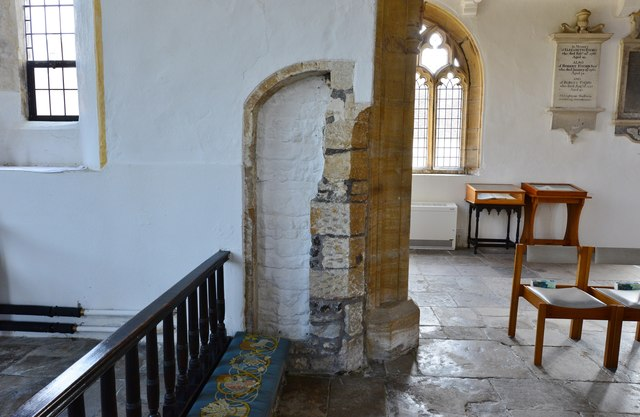 Cerne Abbas, St. Mary's Church: Remains of the c14th church seen in the chancel