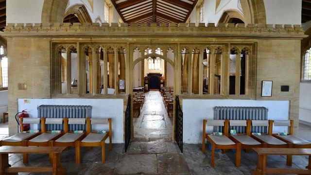 Cerne Abbas, St. Mary's Church: Very rare stone chancel screen