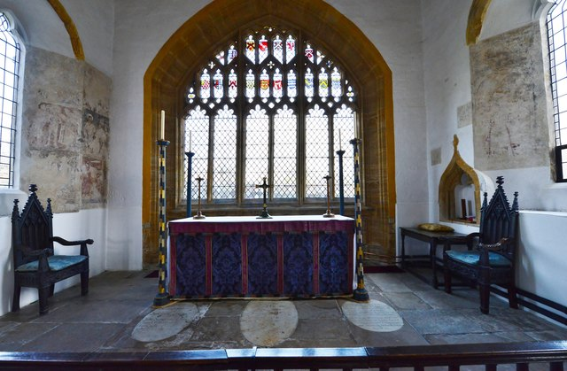 Cerne Abbas, St. Mary's Church: The altar and fragments of early c14th wall paintings