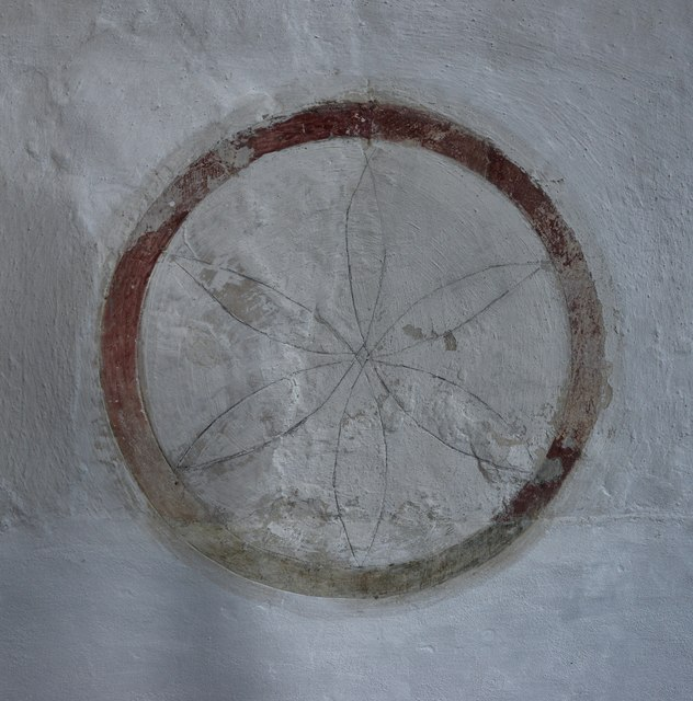 Cerne Abbas, St. Mary's Church: Consecration Cross, chancel north wall