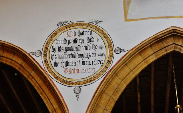 Cerne Abbas, St. Mary's Church: Painted wall text in the nave 2