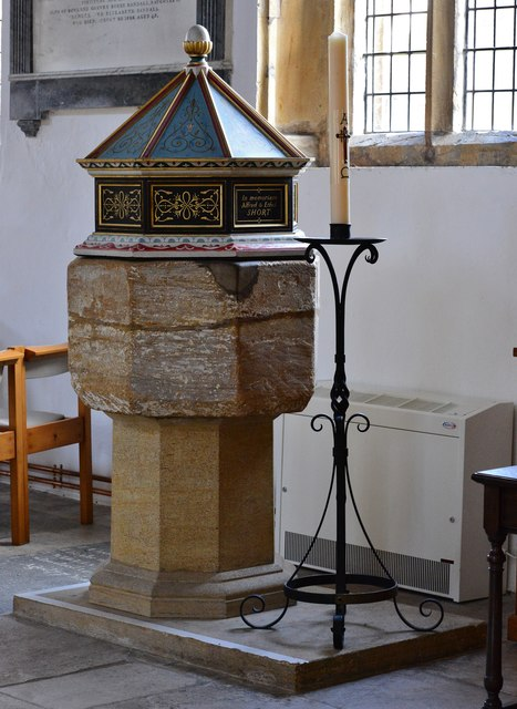 Cerne Abbas, St. Mary's Church: C15th font on modern base with cover added in 1963 1