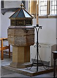 ST6601 : Cerne Abbas, St. Mary's Church: C15th font on modern base with cover added in 1963 1 by Michael Garlick