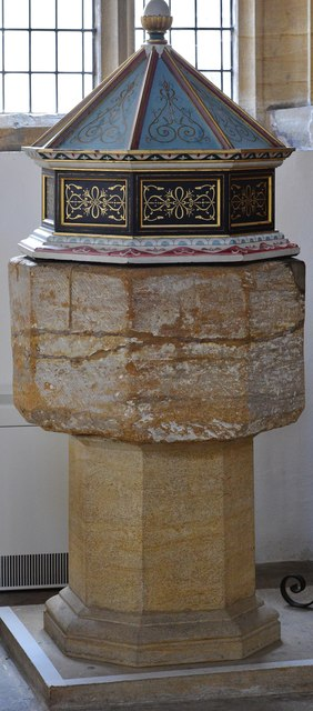 Cerne Abbas, St. Mary's Church: C15th font on modern base with cover added in 1963 2