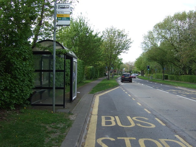 Bus stop and shelter on Black Fan Road (B195)