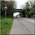SS9178 : Warning sign - road narrows, Cowbridge Road,  Bridgend by Jaggery