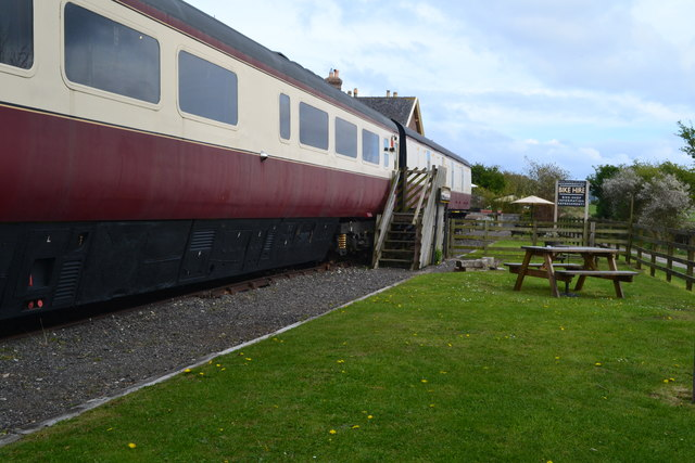 Railway carriages at former Hawsker station