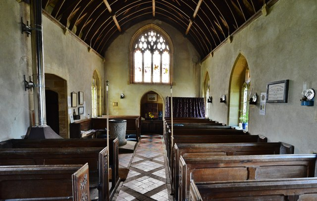 Melbury Bubb, St. Mary's Church: The nave and blocked west door