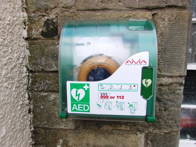 Defibrillator mounted on wall in Falkland