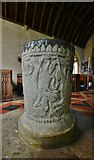 "ST5906 : Melbury Bubb, St. Mary's Church: The ""upside down font"" by Michael Garlick"
