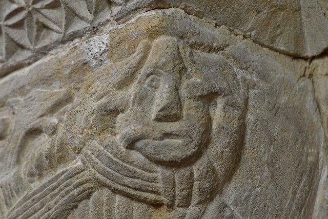 Hawkchurch: St. John the Baptist's Church: Norman capital on the chancel arch 2