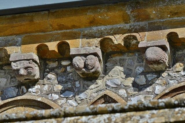 Hawkchurch: St. John the Baptist's Church: The south Norman corbel table 2
