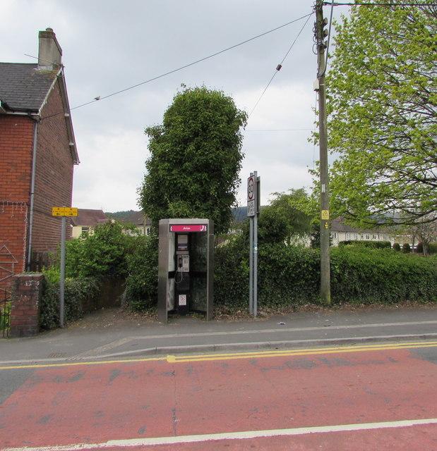 Doorless phonebox, St John's Crescent, Rogerstone, Newport