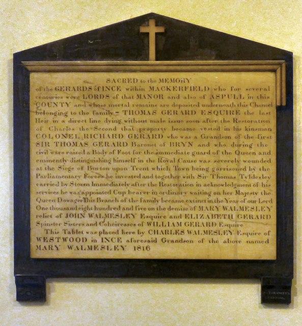 Memorial in the Walmesley Chapel