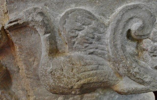 Hawkchurch: St. John the Baptist's Church: Nave capital, man feeding a goose