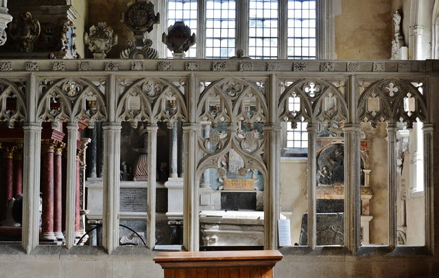Colyton, St. Andrews Church: Beautiful c16th stone screen entrance to the Pole chapel