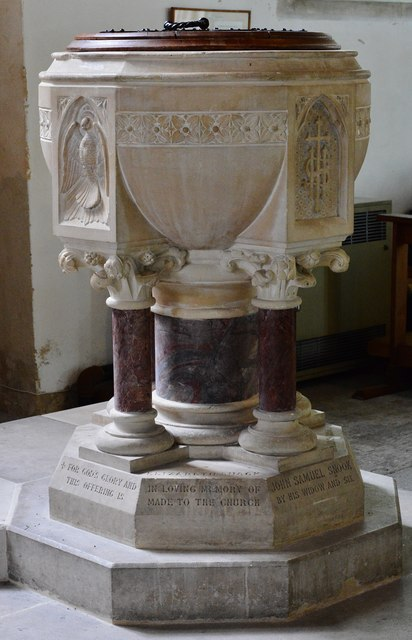 Colyton, St. Andrews Church: The late c19th font 1