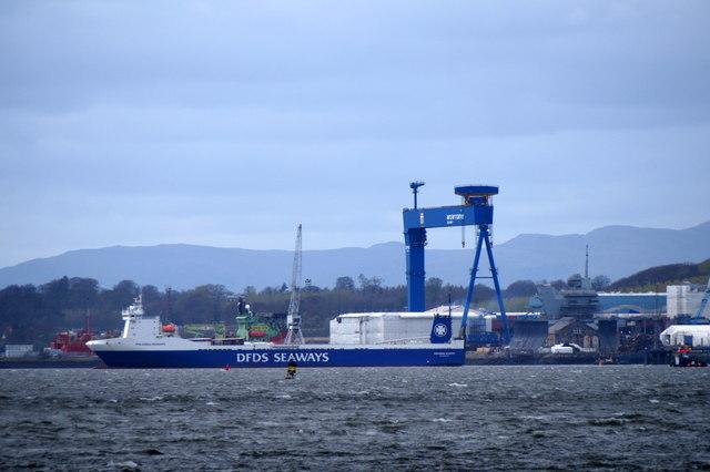 DFDS Seaways cargo ship Finlandia Seaways off Rosyth