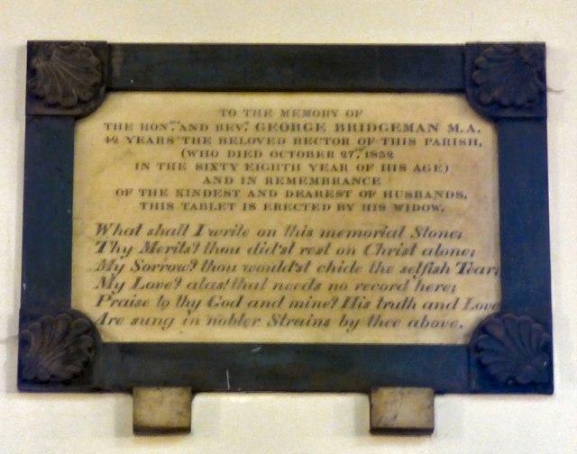 Memorial to George Bridgeman