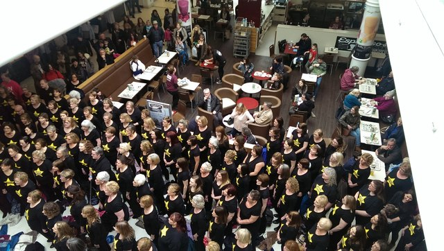 Rock Choir flash mob, Brunel Centre, Swindon
