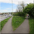 SS9178 : Grass triangle at a path junction, Cowbridge Road, Bridgend by Jaggery