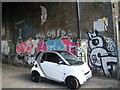 TQ3483 : View of street art under the railway bridge on Corbridge Crescent #2 by Robert Lamb