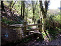 SN7940 : Wooden stile to a track, Cynghordy, Carmarthenshire by Jaggery