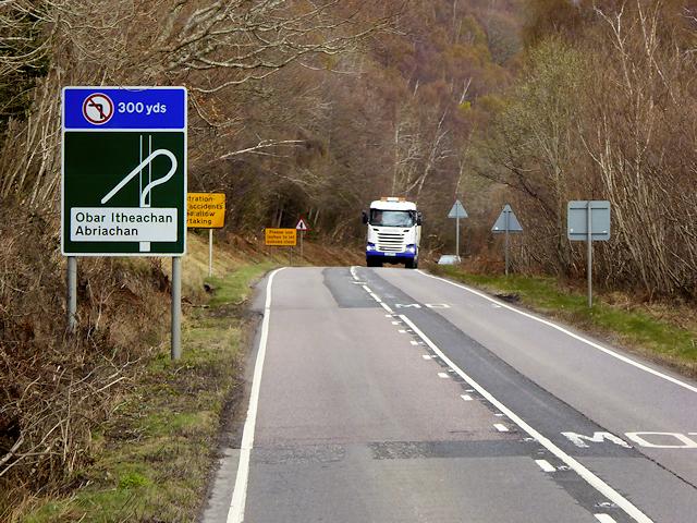 Northbound A82 near Abriachan