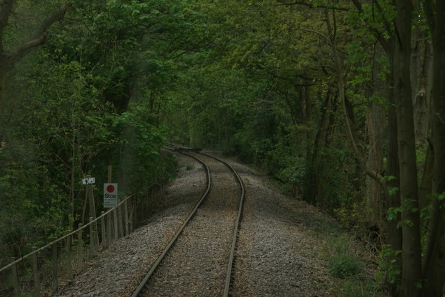 """View of the halt point for the Epping to Ongar Railway in the """"forest"""""""