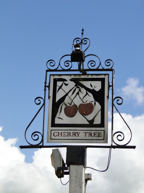 Hanging sign of 'The Cherry Tree' at Wicklewood