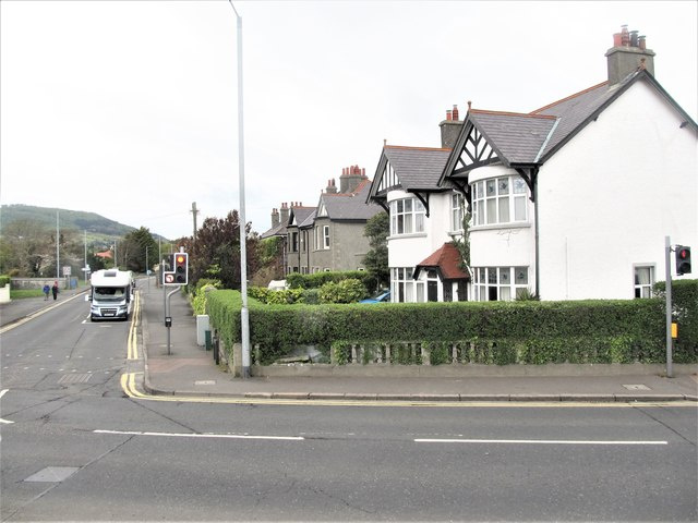 Houses at the junction of the A2 (Shimna Road) and Bryansford Avenue in the centre of Newcastle