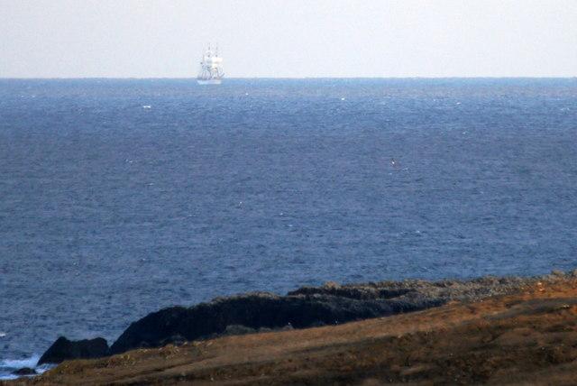 The Nev at Hagdale and a passing sailing ship