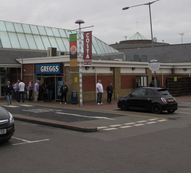 Queue outside Greggs,  Reading Services eastbound