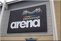 TL1495 : Peterborough Arena sign by Adrian Cable