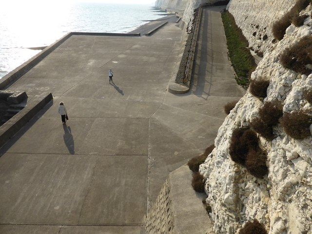Concrete coastal protection and vehicle ramp at Peacehaven