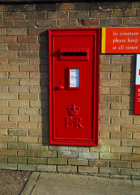 Very large wall-mounted Queen Elizabeth II postbox, Wycombe Way, Carterton, Oxon