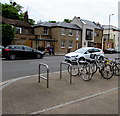 TQ1568 : Hampton Court Road bicycle racks, East Molesey by Jaggery