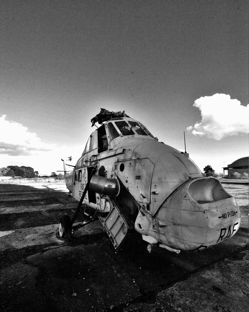 Abandoned helicopter at Rissington Airfield