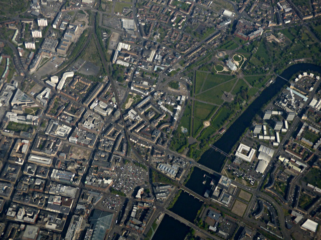 Glasgow city centre from the air