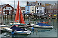 SY6878 : Dinghies and waterfront houses, Weymouth by David Martin