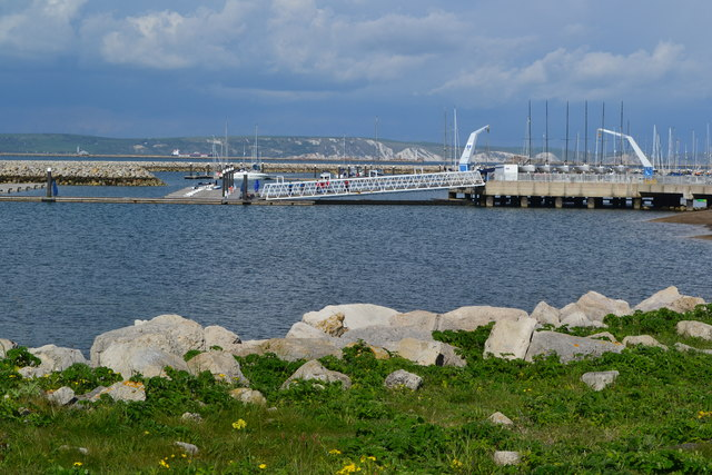 A corner of Portland Harbour, towards the National Sailing Academy
