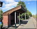 SN9347 : Shelter on Llangammarch Wells railway station in Powys by Jaggery