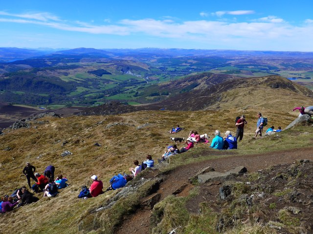 Crowded summit of Ben Vrackie