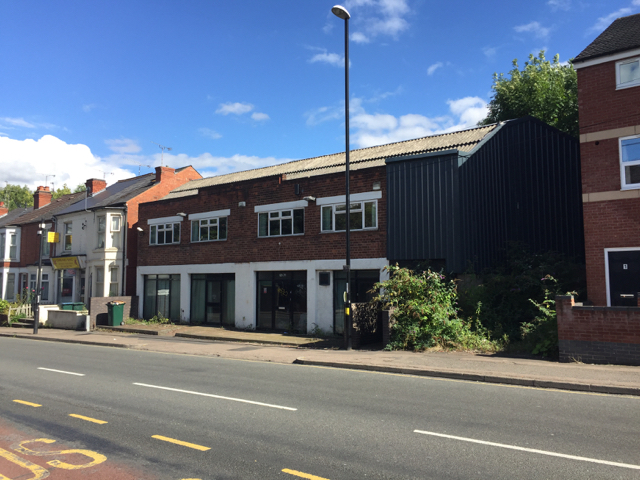 Abandoned showroom/offices, 69-71 Hearsall Lane, Earlsdon, west Coventry